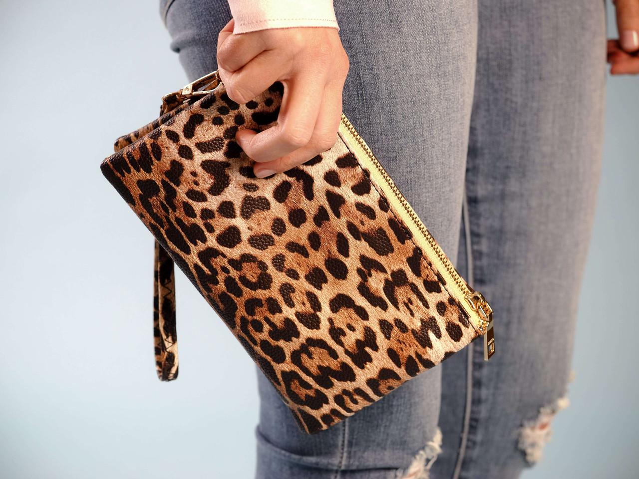 wristlet with adjustable crossbody leopard print