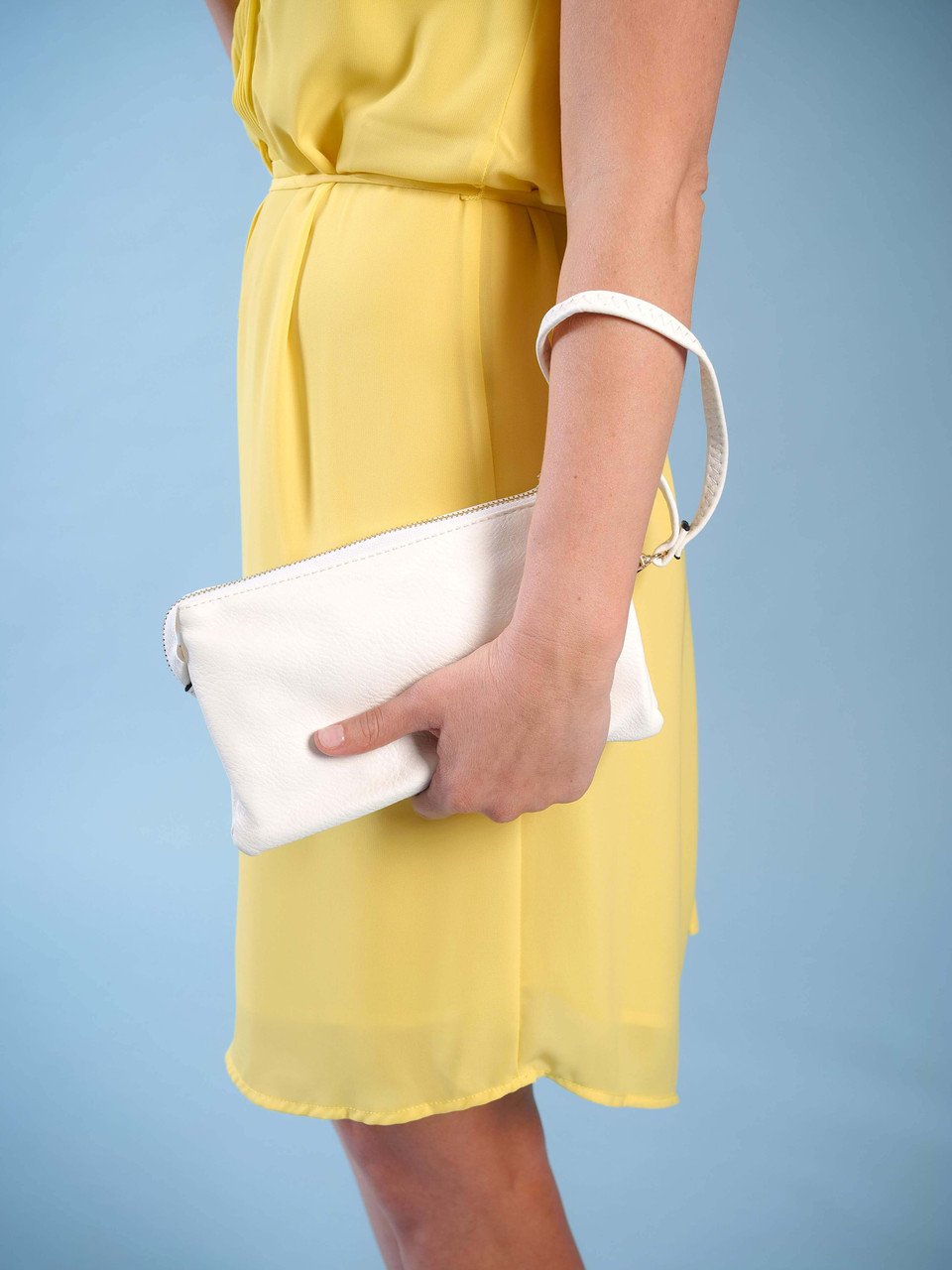 wristlet with adjustable crossbody strap white