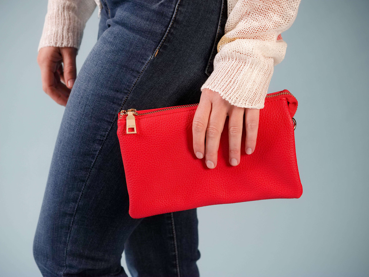 wristlet crossbody with adjustable straps red