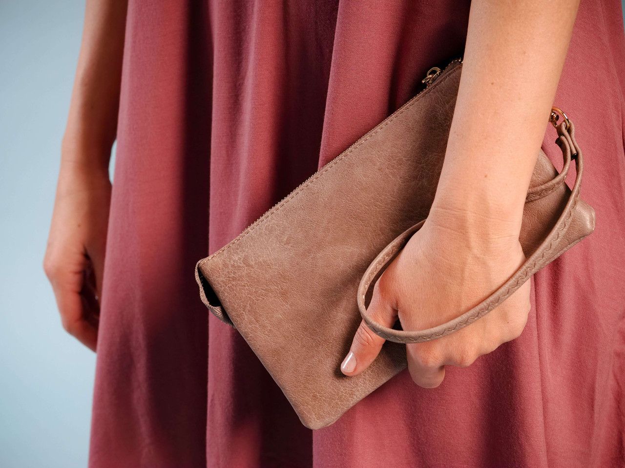 wristlet and crossbody with adjustable strap taupe