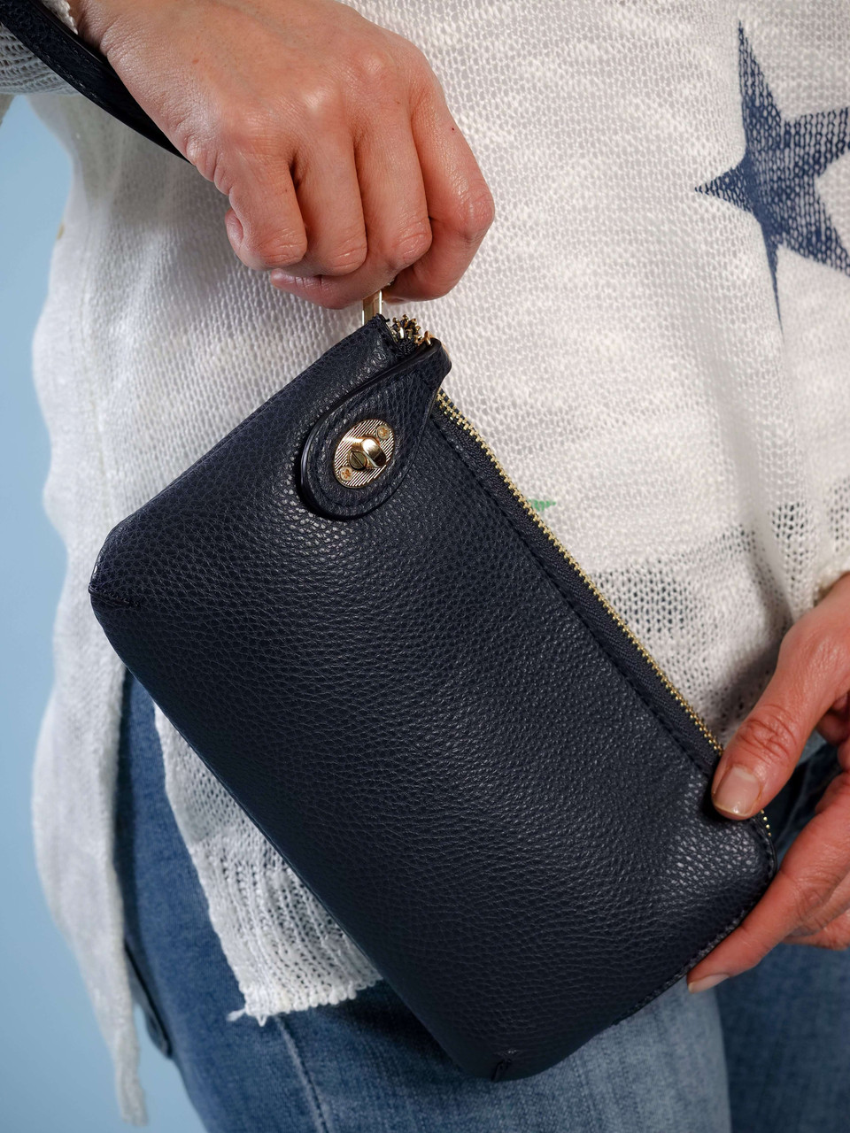wristlet with adjustable crossbody strap navy