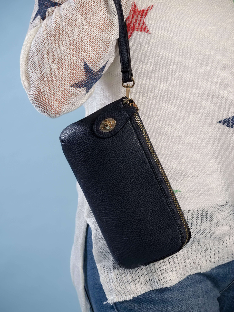 wristlet and adjustable crossbody strap navy