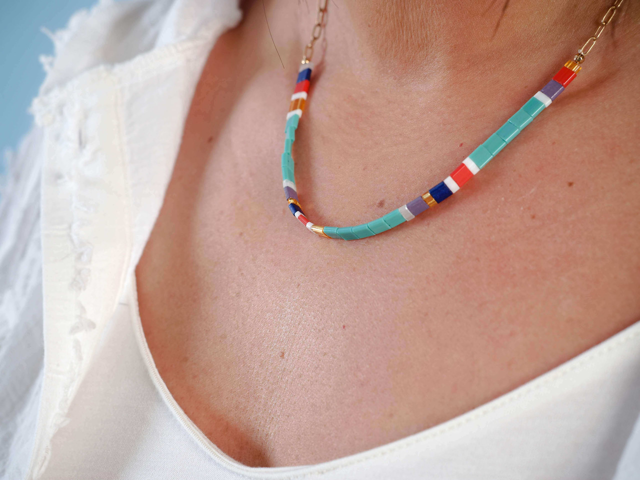 glass beads multi color necklace