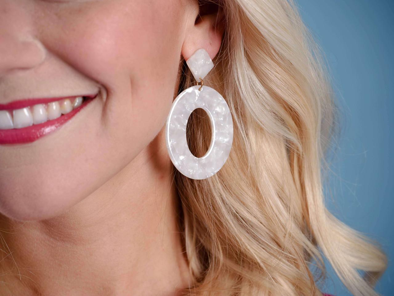 ivory acrylic gold earring