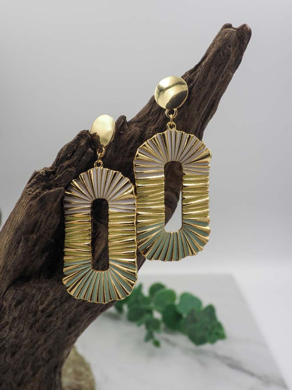 Gold oval earring white yellow mint colors