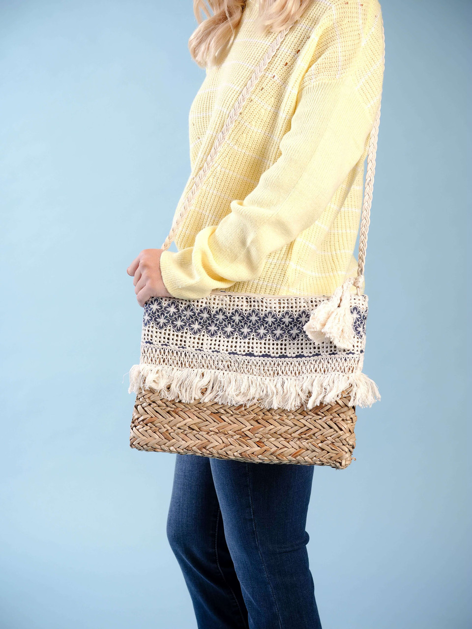 straw crossbody crochet detail ivory and blue