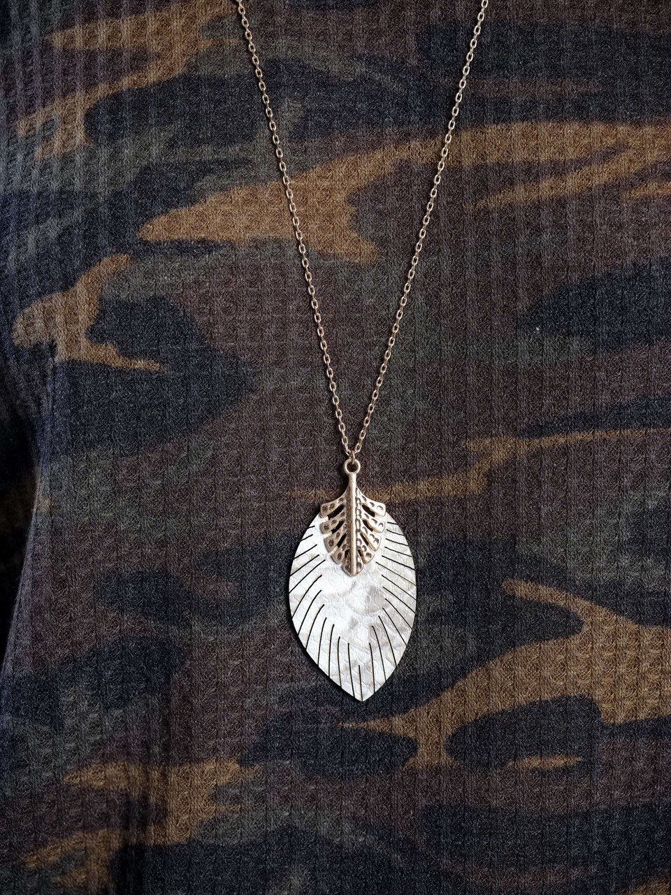 gold faux leather snake print feather necklace