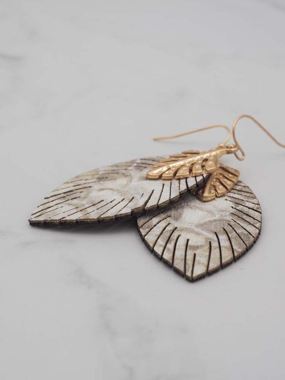 faux leather snakeprint feather earring