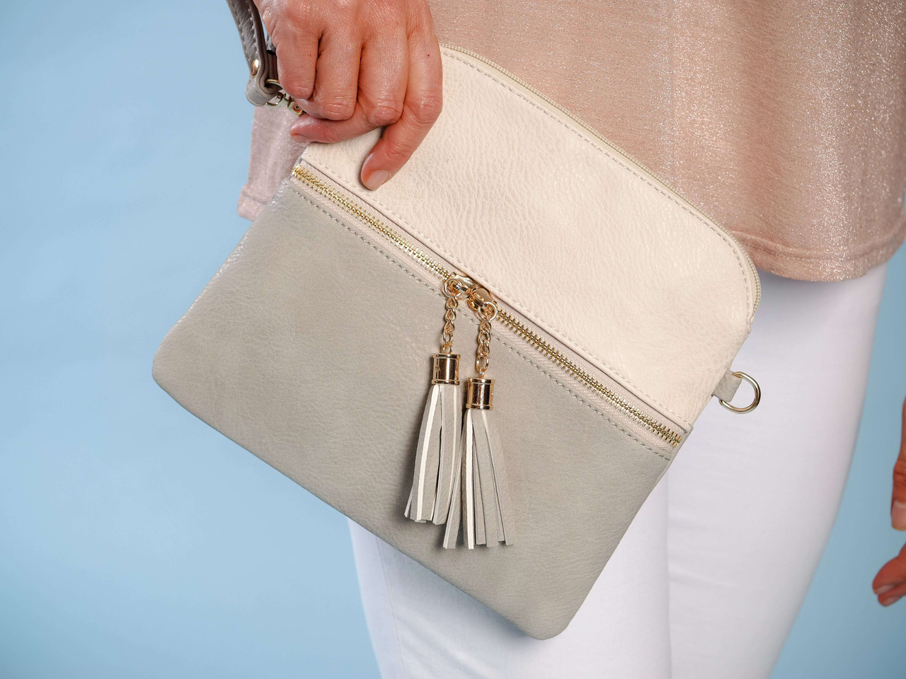 wristlet adjustable strap crossbody light grey ivory