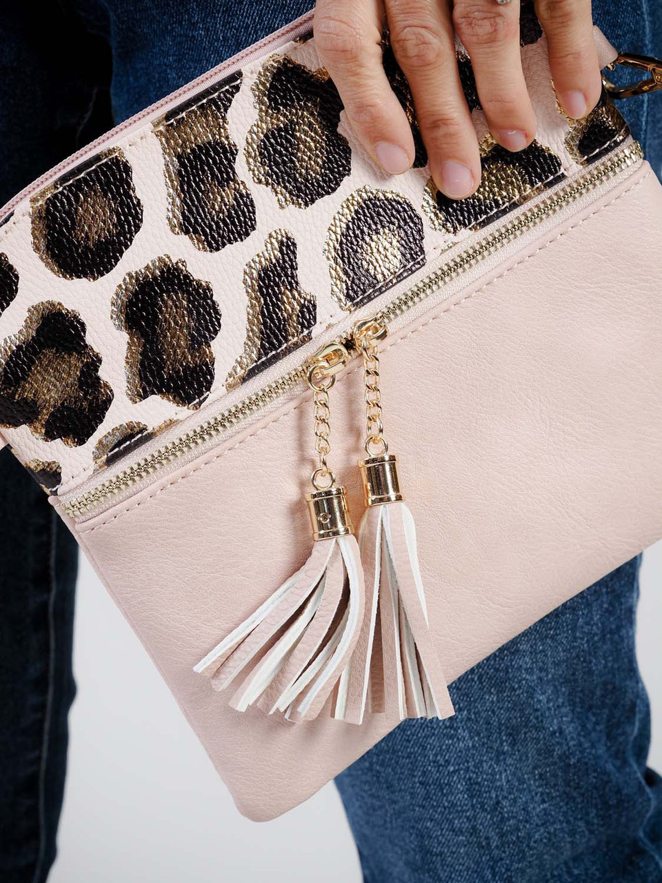 rose gold and leopard print crossbody bag jen and co