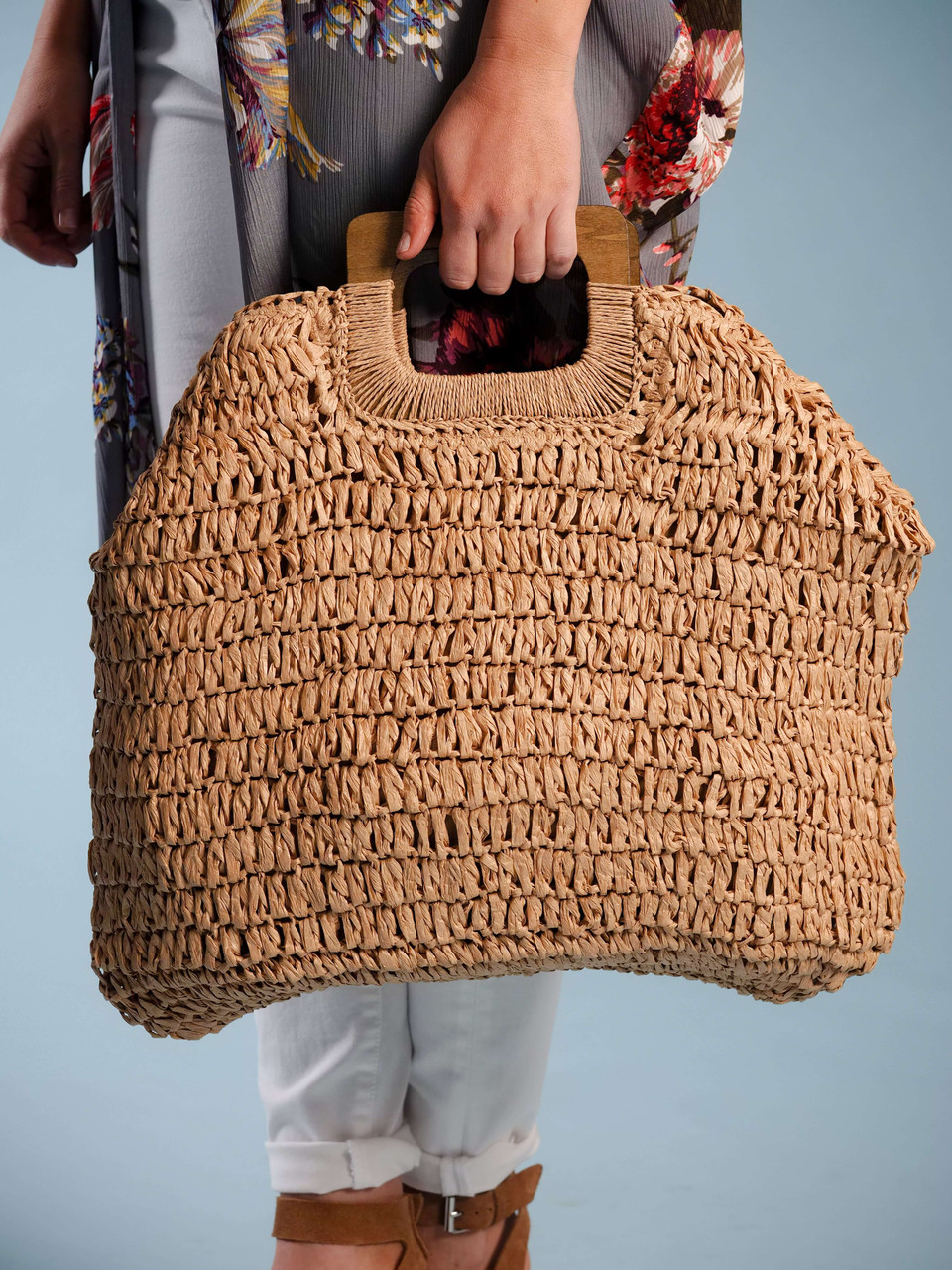 straw bag wood handles
