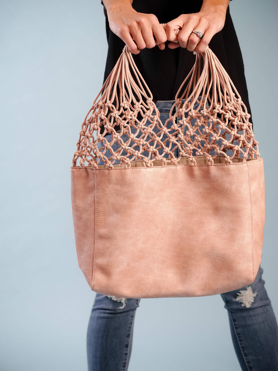faux leather pink satchel fishnet tote