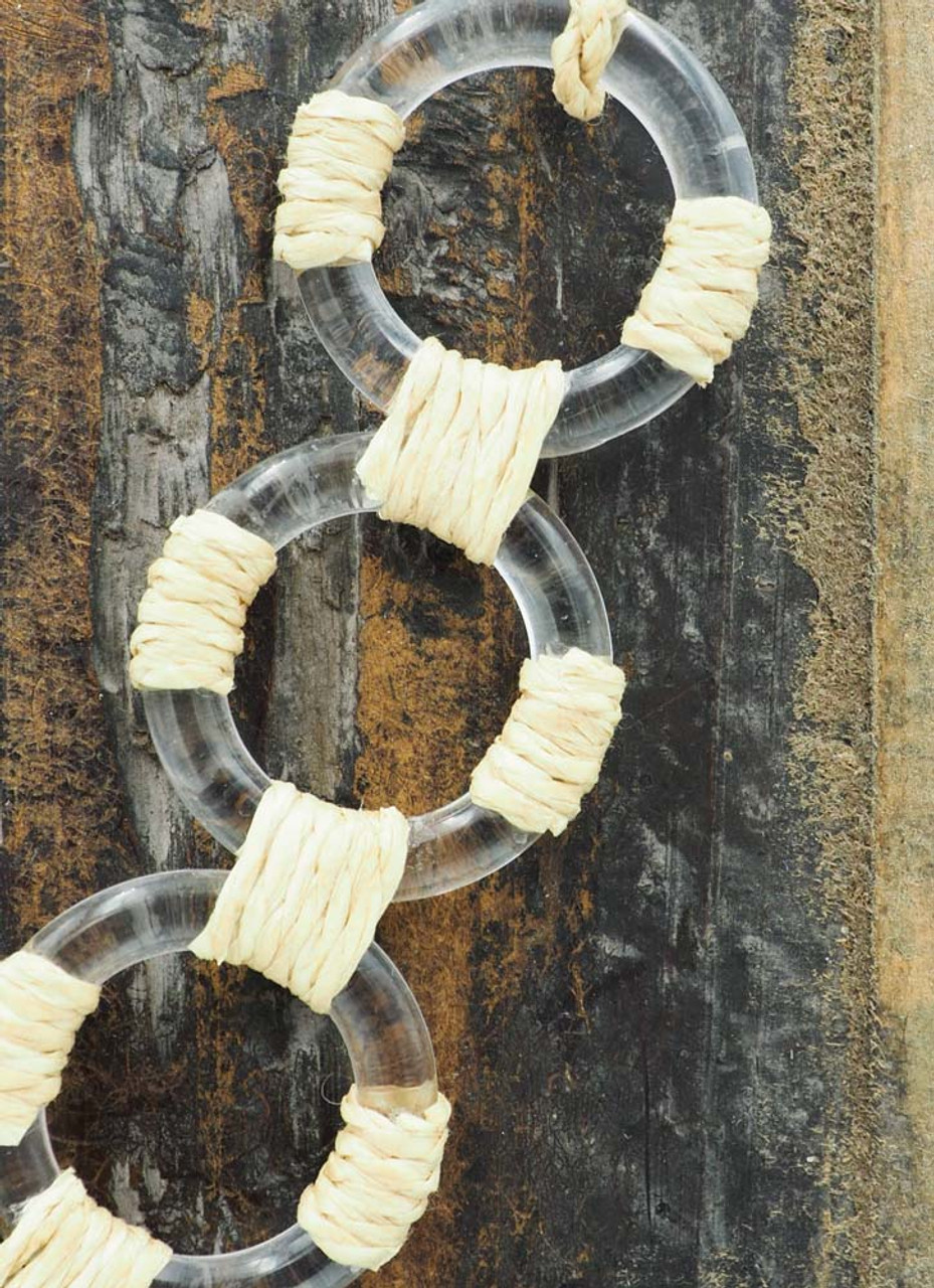 rope necklace with clear acrylic rings