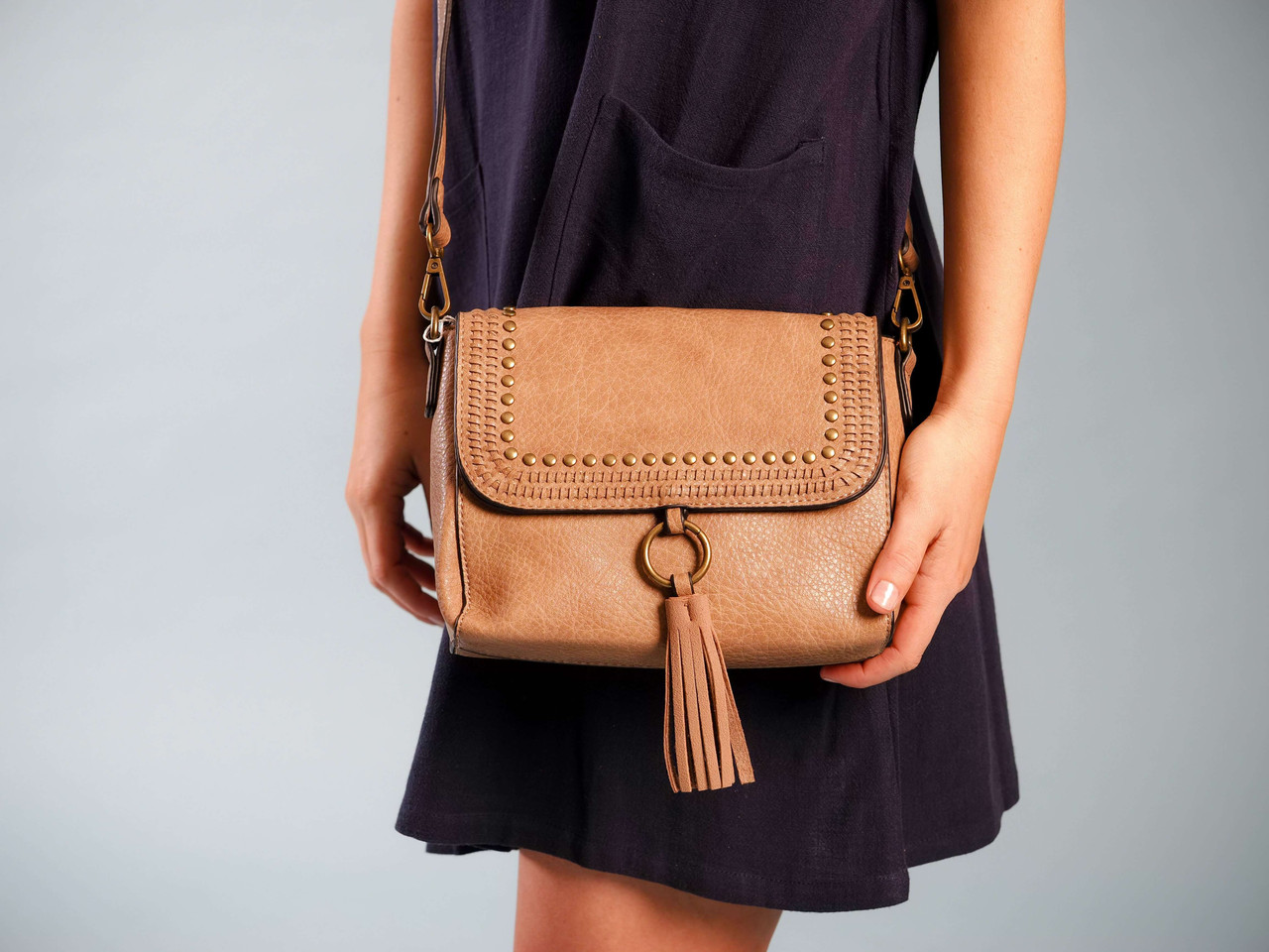 taupe crossbody braided detail
