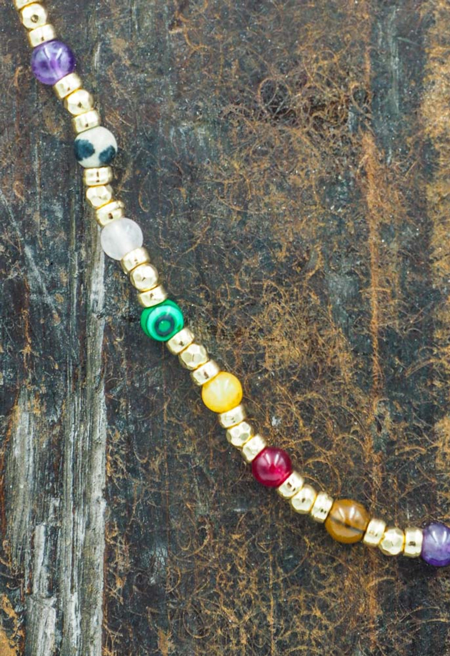 short necklace multi color and gold beads