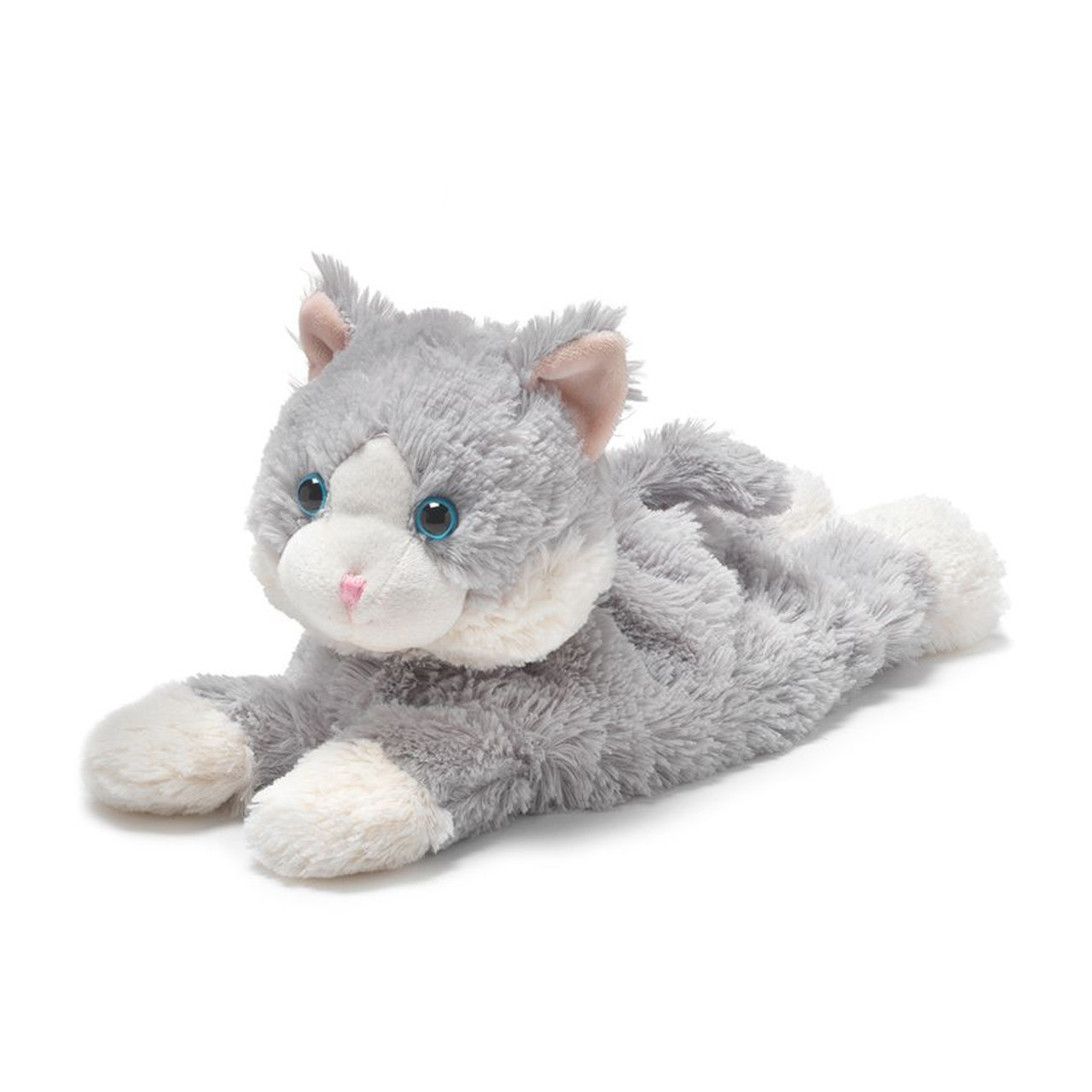 "All age groups can have hours of fun using their Warmies® Cozy Plush Laying Down Grey Cat, knowing that they can be warm all night long.   The 13"" Laying Down Grey Cat is fully microwavable yet entirely safe to hold tight after taking a bath, putting on PJs, and heading up the stairs to bed."