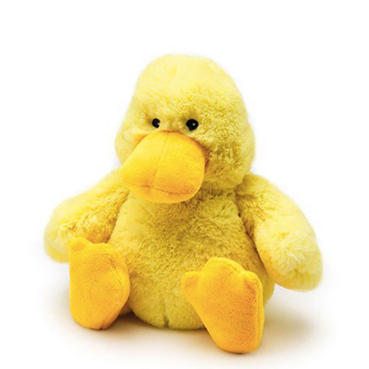 """All age groupscan have hours of funusingtheirWarmies®Cozy Plush Junior Duck,knowing that they can be warm all night long.  The 9"""" Junior Duck is fully microwavable yet entirely safe to hold tight after taking a bath, putting on PJs, and heading up the stairs to bed."""