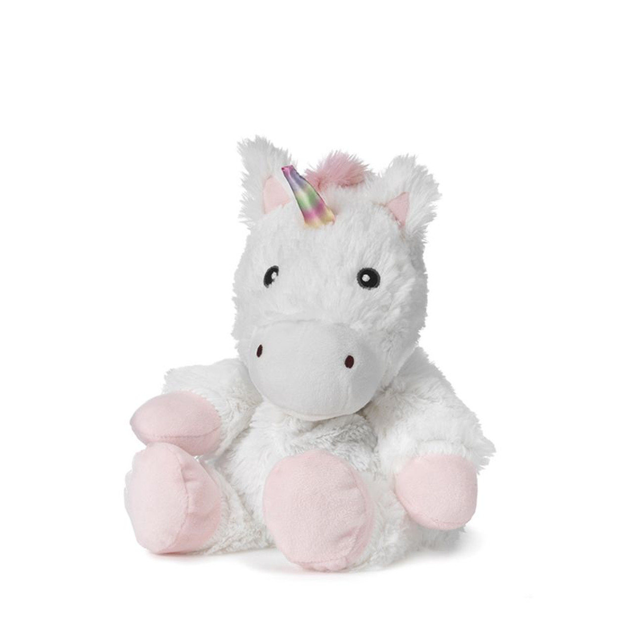 """All age groupscan have hours of funusingtheirWarmies®Cozy Plush White Unicorn,knowing that they can be warm all night long.  The 13"""" White Unicorn is fully microwavable yet entirely safe to hold tight after taking a bath, putting on PJs, and heading up the stairs to bed."""