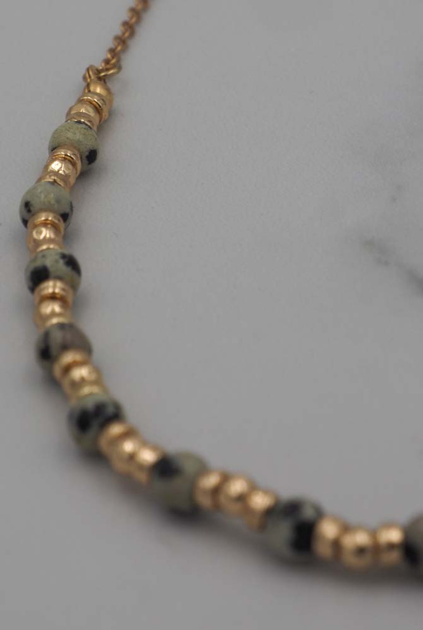 gold short necklace dalmation beads