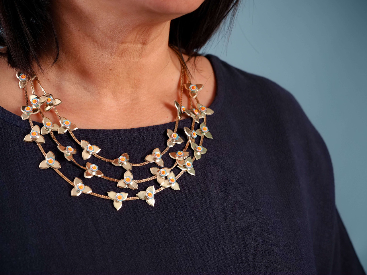 three layer gold chain coral blue statement necklace