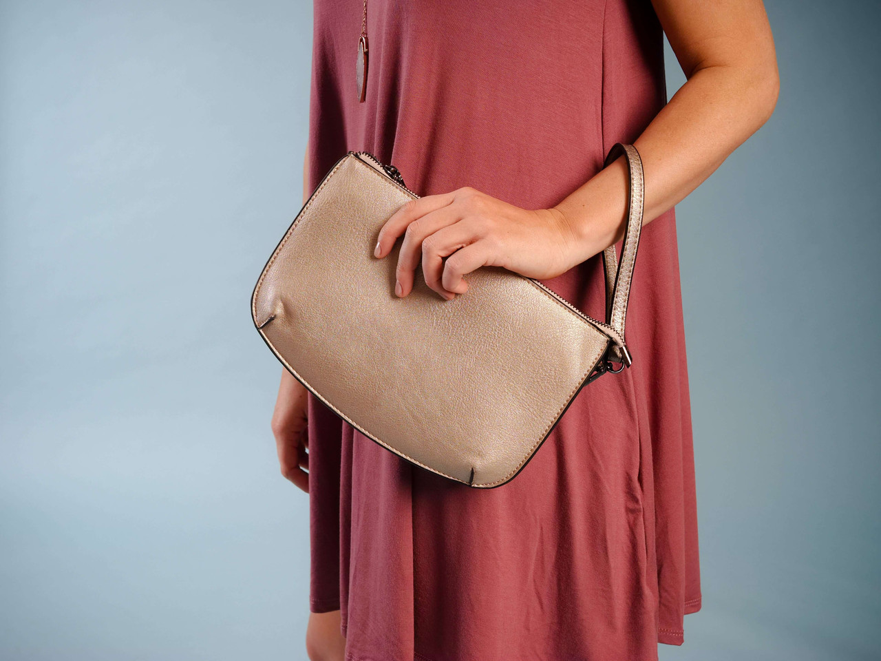 vegan leather wristlet crossbody three compartments pockets