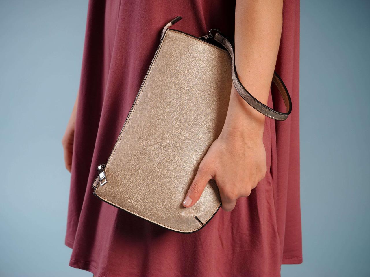 vegan leather wristlet crossbody three crompartments pockets