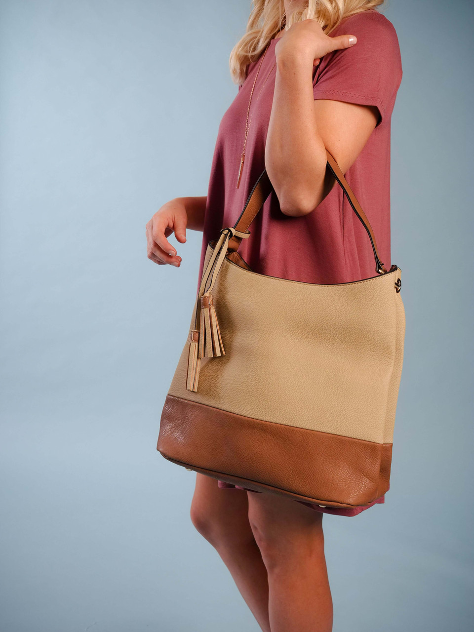 two toned vegan leather linen and brown hobo bag