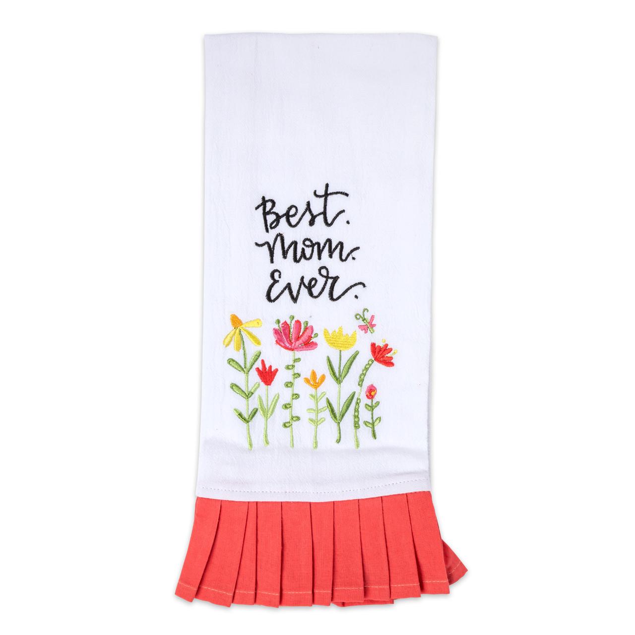 white cotton tea towel best mom ever kitchen gift
