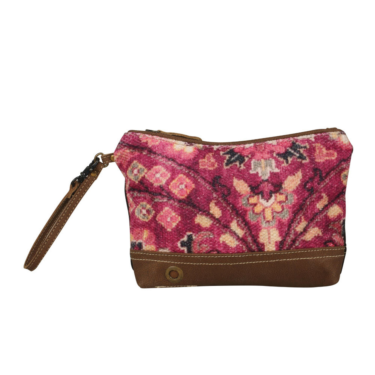 Leather, canvas & rug clutch or wristlet.  The front has a vibrant pink floral rug print with main zipper closure.  The back is solid canvas.   No interior or exterior pockets.
