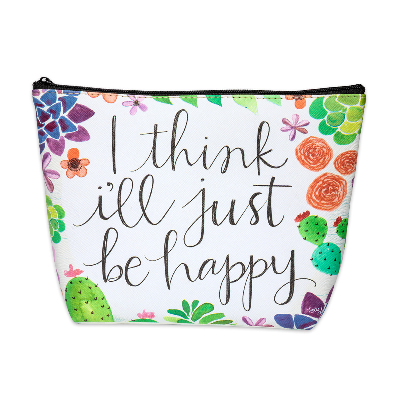 cosmetic bag inspirational gift i think i'll just be happy