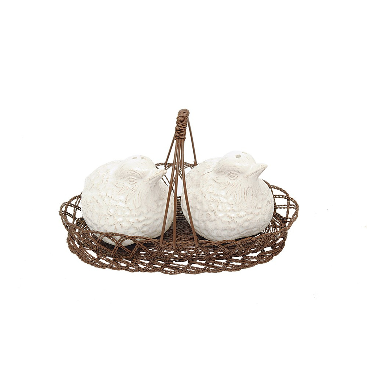 White Ceramic Bird Salt & Pepper Shakers in Wire Basket.