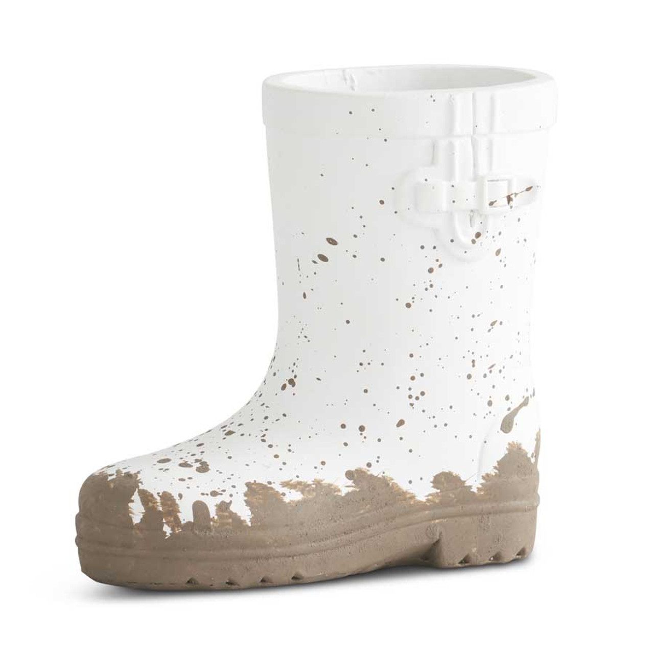 """Adorable 4.25"""" white resin boot. Perfect touch to add to your Spring decor."""