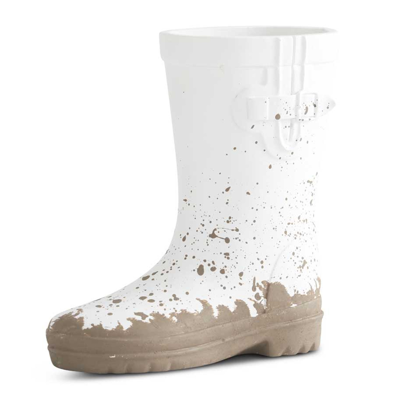 """Adorable 7"""" white resin boot. Perfect touch to add to your Spring decor."""