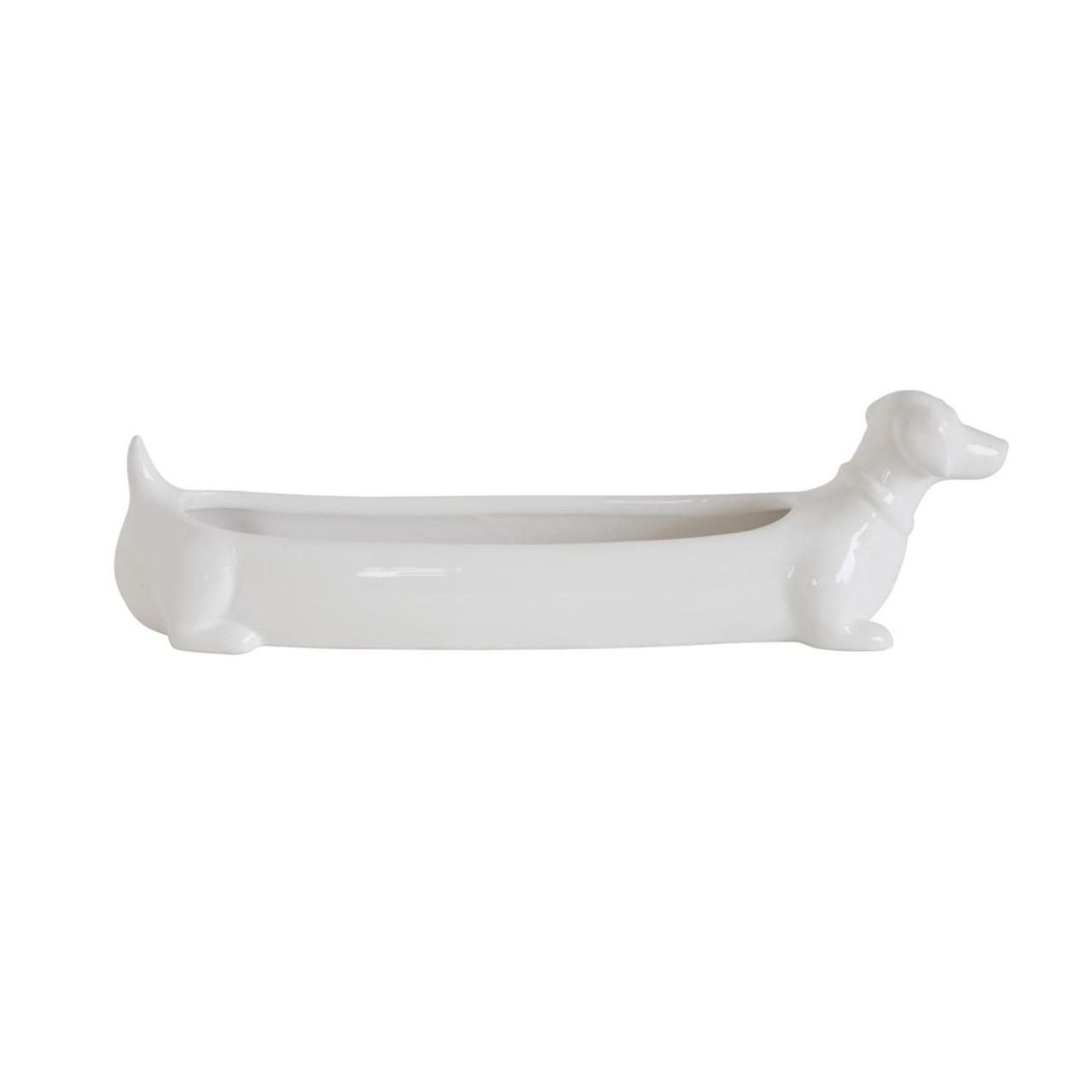 White Ceramic Dachshund Cracker Dish.