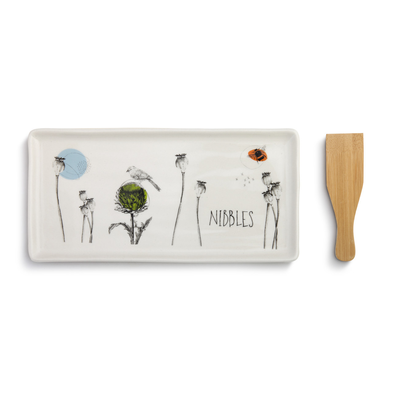 If you have a friend that loves to cook or host often, the Nibbles Appetizer Tray with Spatula from the ByDesign Serving Collection will be an excellent addition to their repertoire. Made from glazed stoneware, this serving tray is an ideal size for serving bite-sized morsels before dinner or afterwards for dessert.
