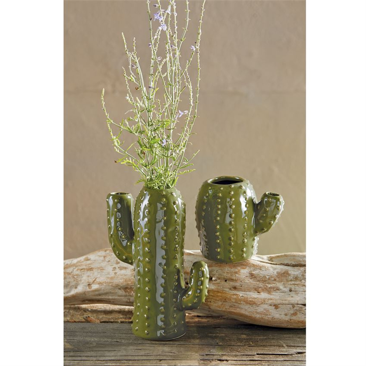 "Mottled ceramic cactus shaped vase features raised ""thorn"" textured exterior."