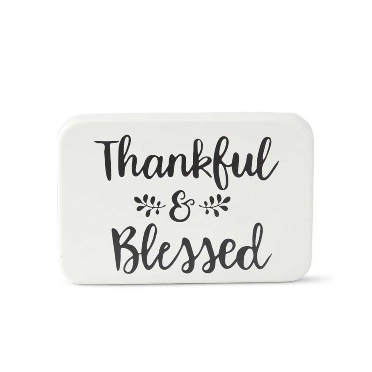 White Enamel Script THANKFUL & BLESSED Wall Decor