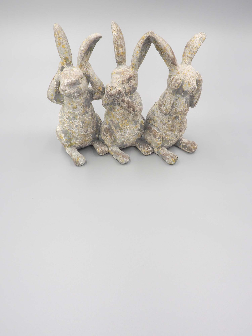 grey distressed resin hear, speak, and see three bunnies figure