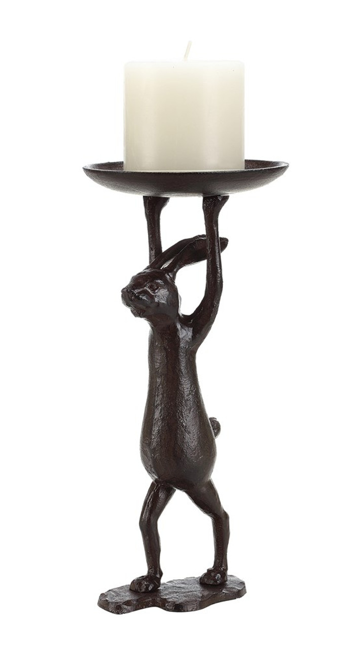 "Cast Iron Rabbit Candle Holder, Holds 3"" Pillar."
