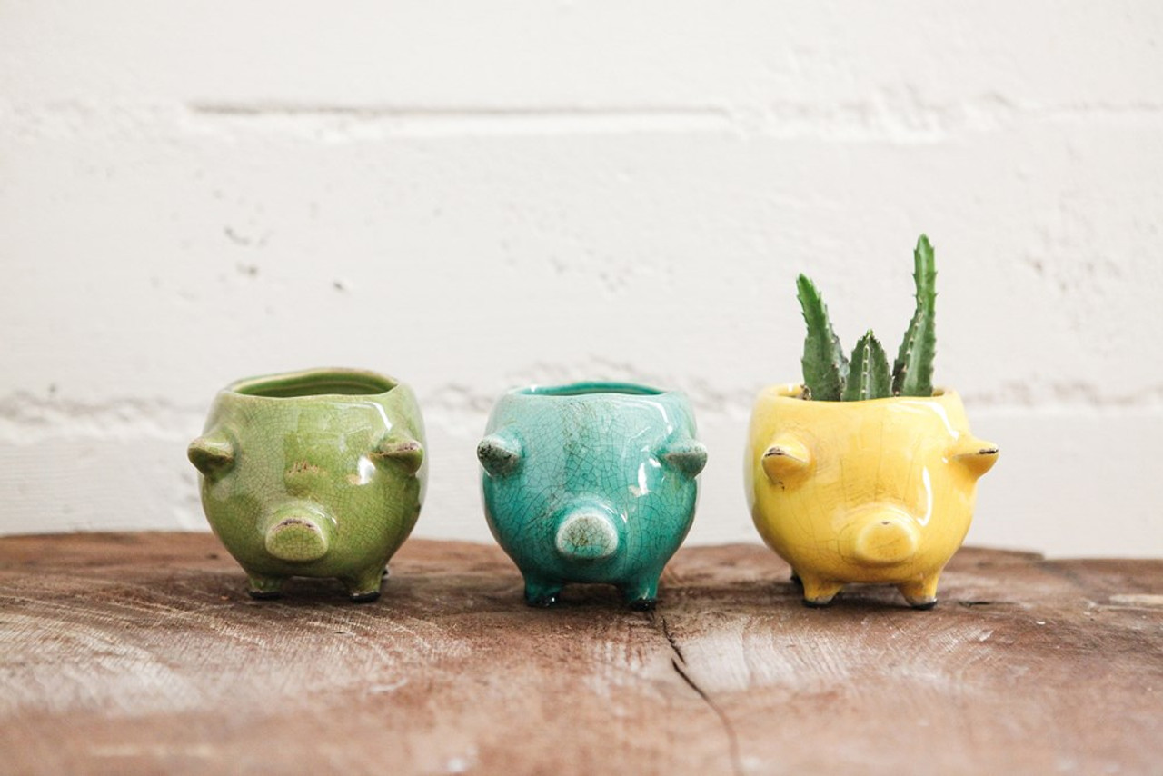Cute & Colorful Yellow Terracotta Pig Planter.