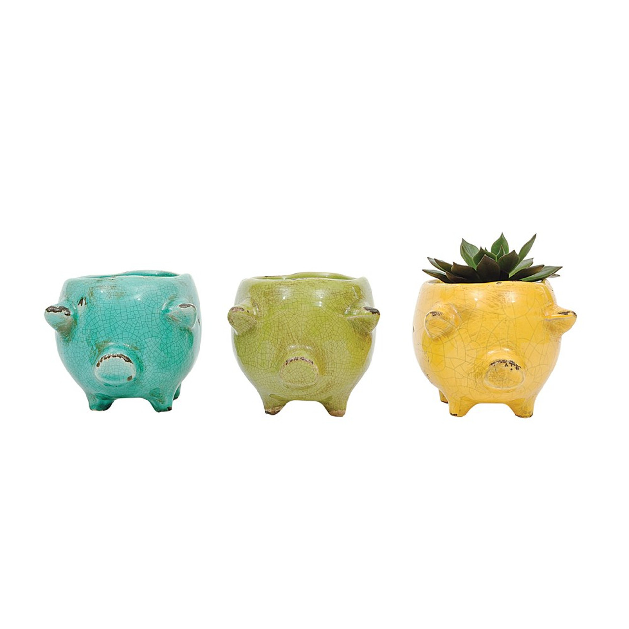 Cute & Colorful Green Terracotta Pig Planter.