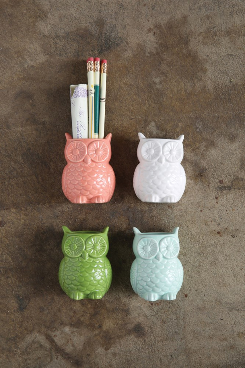 White Stoneware Owl Vase with Magnet.