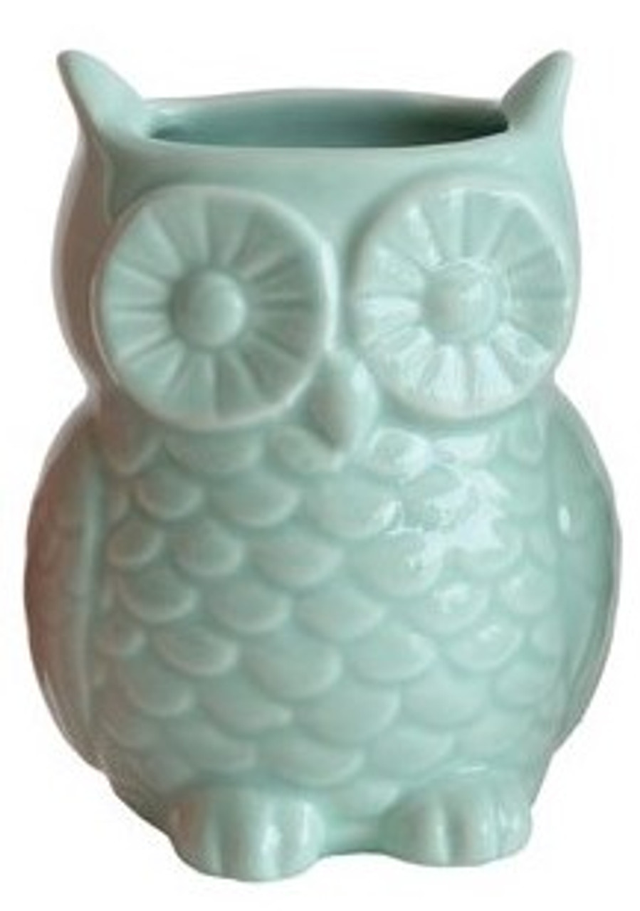 Colorful Blue Stoneware Owl Vase with Magnet.