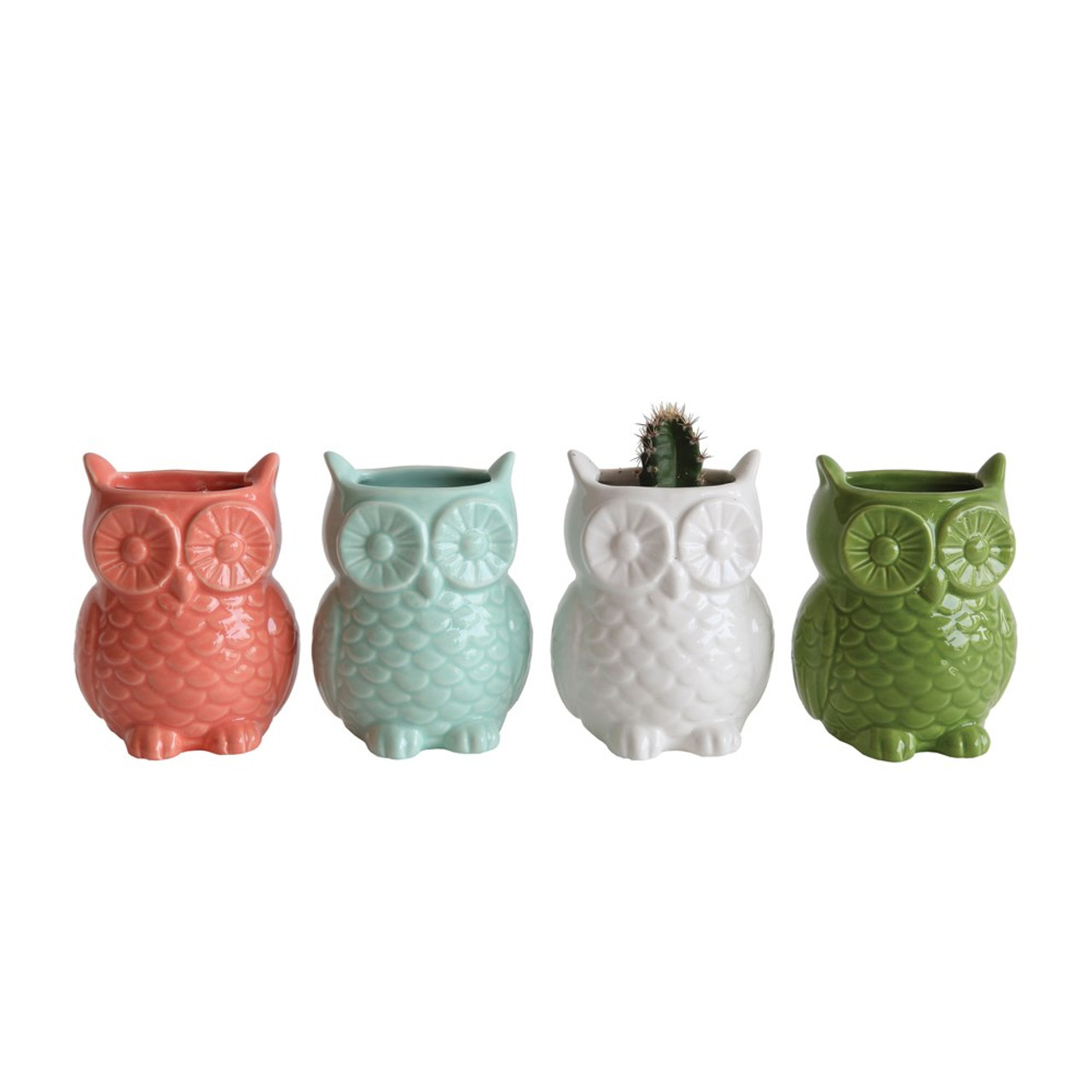 Colorful Coral Stoneware Owl Vase with Magnet.