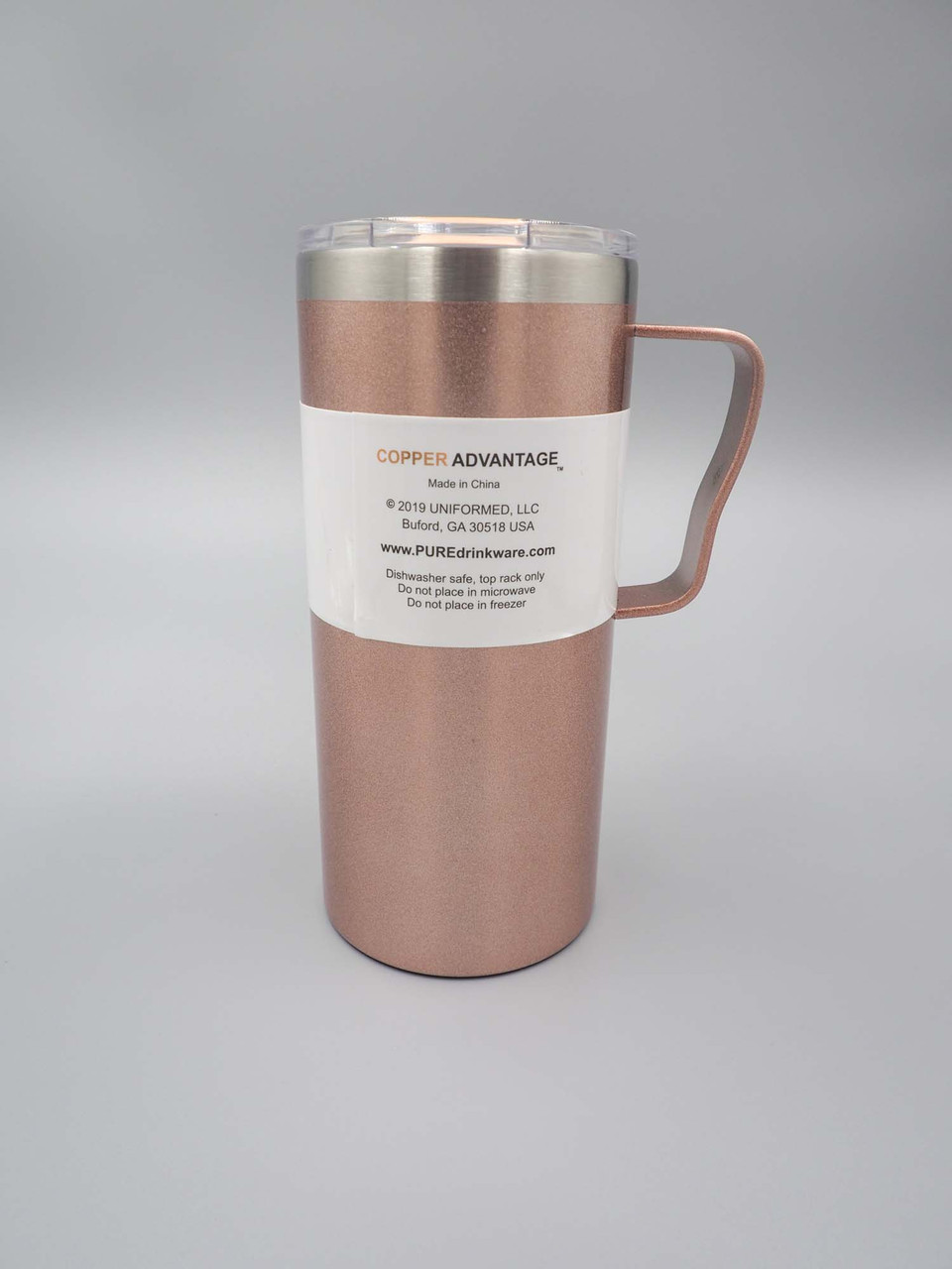 pure drinkware rose gold 18oz coffee mug