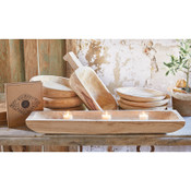 This tray is made of durable Paulownia wood and can be used for candles, food, and centerpieces. Eco-friendly, Natural Finish, Lightweight for everyday use, Hand carved by skilled artisans.