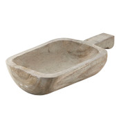 This tray is made of durable Paulownia wood and can be used for candles, food, and centerpieces. Grey Wash, Eco-friendly, Lightweight for everyday use, Hand Carved by skilled artisans.