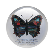 "This classic paperweight features a decorative butterfly with the phrase, ""Just when the caterpillar thought the world was over, it became a butterfly."""