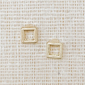 Open square gold stud earrings, Nickel and lead free.