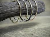 Beaded Stretch Bracelet With Gold Bar